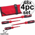 Milwaukee 48-22-2204 48x 4pc 1000V Insulated Screwdriver Set w/ Roll Pouch