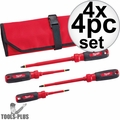 Milwaukee 48-22-2204 4pc 1000V Insulated Screwdriver Set w/ Roll Pouch 4x
