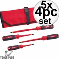 Milwaukee 48-22-2204 4pc 1000V Insulated Screwdriver Set w/ Roll Pouch 5x