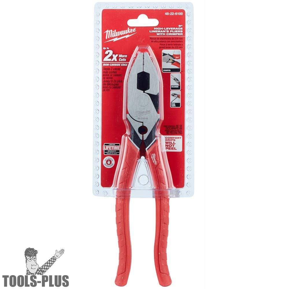 NEW MILWAUKEE 48-22-6100 HIGH LEVERAGE ELECTRICAL PLIERS WITH CRIMPER