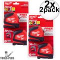 Milwaukee 48-22-6625G 25' Compact Tape Measure 2x 2pk