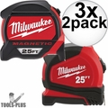 Milwaukee 48-22-7125C 25' Magnetic Tape + 25' General Contactor Tape 3x