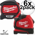 Milwaukee 48-22-7125C 25' Magnetic Tape + 25' General Contactor Tape 6x