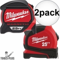 Milwaukee 48-22-7125C 25' Premium Magnetic Tape + 25' General Contactor Tape
