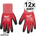 Milwaukee 48-22-8900 12x Cut Level 1 Dipped Work Gloves - Small