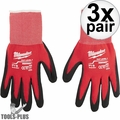 Milwaukee 48-22-8900 Pair Cut Level 1 Dipped Work Gloves - Small 3x