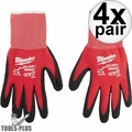 Milwaukee 48-22-8900 Pair Cut Level 1 Dipped Work Gloves - Small 4x