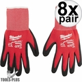 Milwaukee 48-22-8900 Pair Cut Level 1 Dipped Work Gloves - Small 8x
