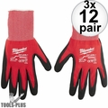 Milwaukee 48-22-8903 12x Cut Level 1 Dipped Gloves - X Large 3x 12 Pair