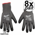 Milwaukee 48-22-8952 Cut Lvl 5 Dipped Gloves Large BEST Oyster Clam Glove 8x