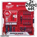 Milwaukee 48-32-4408 26pc Shockwave Impact Drive & Fasten + Bit Holder 3x