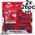 Milwaukee 48-32-4408 2x 26Pc Shockwave Impact Drive & Fastener Set