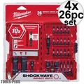 Milwaukee 48-32-4408 26pc Shockwave Impact Drive + Fasten + Bit Holder 4x