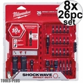 Milwaukee 48-32-4408 26pc Shockwave Impact Drive + Fasten + Bit Holder 8x