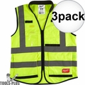 Milwaukee 48-73-5041 3x High Vis Yellow Performance Safety Vest - Small/Med