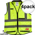 Milwaukee 48-73-5041 4x High Vis Yellow Performance Safety Vest - Small/Med