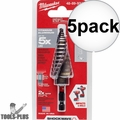 "Milwaukee 48-89-9248 SHOCKWAVE Impact Duty Step Bit #8 1/8 - 1"" 5x"