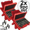 "Milwaukee 49-66-4484 9pc 3/8""~3/4"" Shockwave 1/2 Dr Impact Sockets 2x"
