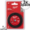 "Milwaukee 49-94-3000 3"" Metal Cut Off Wheel 3x 3pk"