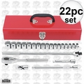 "Proto J54210 1/2"" Drive 22 Piece Metric Socket Set 12 Point"