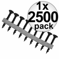 "Quik Drive DWC158PS Box of 2500 1-5/8"" Phillips Collated Strip Screws + 2 Bits"