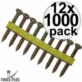 """Quik Drive WSNTL134S 2000pk 1-3/4"""" Square Drive Collated Screws + 2 Bits 12x"""