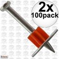"Ramset 1512SD Box of 100 1-1/2"" Head Drive Powder Fastener 2x"