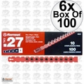 "Ramset 5RS27 Box of 100 (600 total) #5 ""Red"" 27 cal Strip Loads 6x"