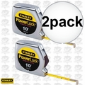 "Stanley 33-115 10' x 1/4"" PowerLock Pocket Tape Measure + Diameter Scale 2x"