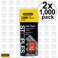 "Stanley CT106T 1000pk 3/8"" Round Crown Cable Staples 2x"