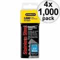 "Stanley TRA708SST 1000 Pack 1/2"" Stainless Steel Narrow Crown Staples 4x"