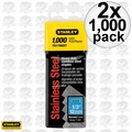 "Stanley TRA708SST 1000 Pack 1/2"" Stainless Steel Narrow Crown Staples 2x"