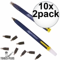 Swanson CP216 10x 2pk Always Sharp Refillable Carpenters Pencils 'Flat Type'