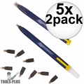 Swanson CP216 5x 2pk Always Sharp Refillable Carpenters Pencils 'Flat Type'