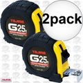 "Tajima G-25BW 1"" x 25"" Shock Resistant Tape Measure 2x"