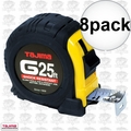 "Tajima G-25BW 1"" x 25' Shock Resistant Tape Measure 8x"