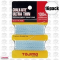 "Tajima PL-ITOS 16pk 100 ft .02"" Ultra Thin Braided Chalk Line"