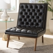 Baxton Studio Annetha Mid-Century Modern Black Faux Leather Upholstered Walnut Finished Wood Lounge Chair - BBT5272-Pine Black-CC