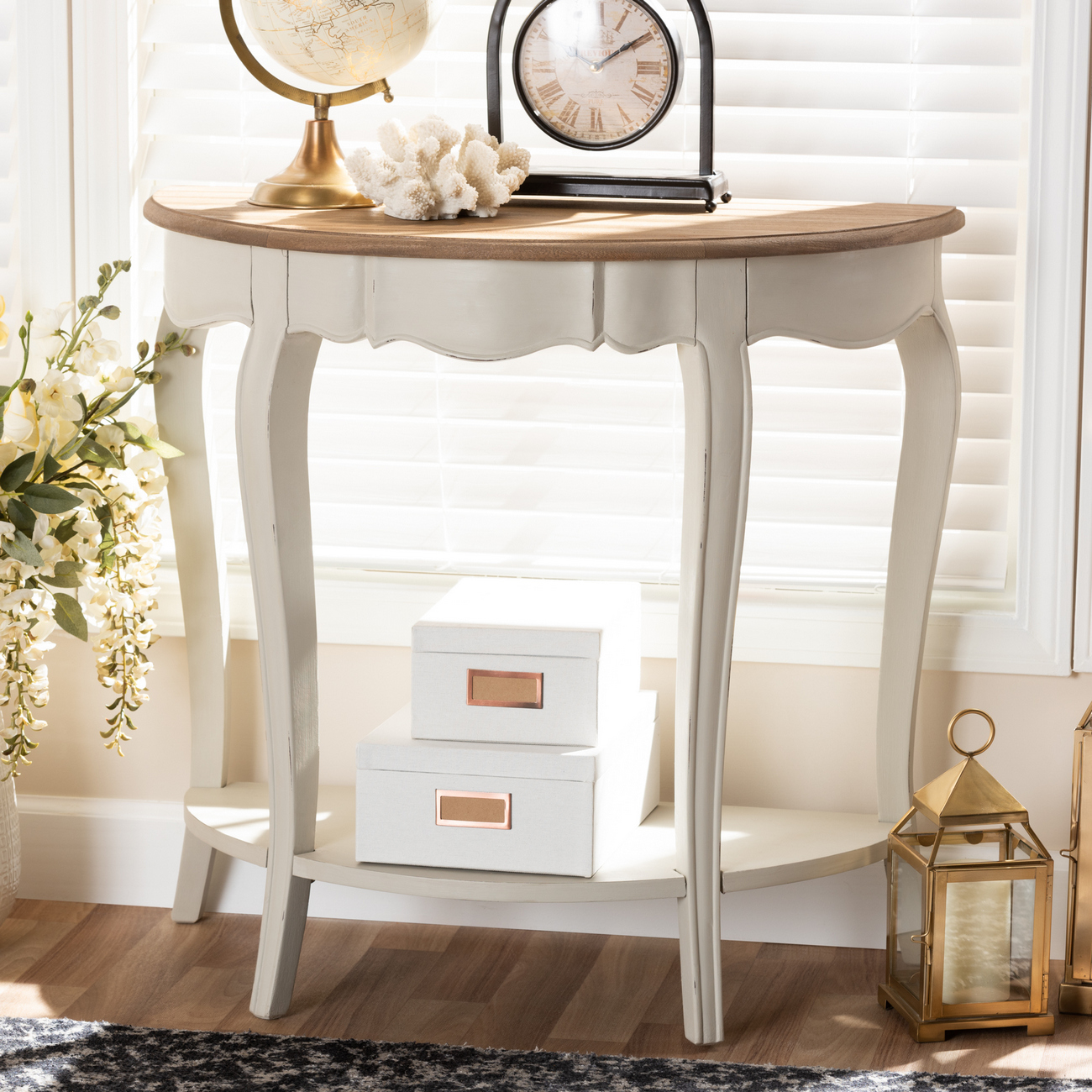 Baxton Studio Cordelia Country Cottage Farmhouse White Natural - Country cottage console table