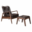 Bully Lounge Chair & Ottoman in Brown - Zuo Modern 100535