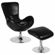 Egg Series Black Leather Side Reception Chair w/ Ottoman - Flash Furniture CH-162430-CO-BK-LEA-GG