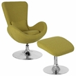 Egg Series Green Fabric Side Reception Chair w/ Ottoman - Flash Furniture CH-162430-CO-GN-FAB-GG