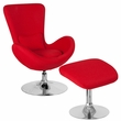 Egg Series Red Fabric Side Reception Chair w/ Ottoman - Flash Furniture CH-162430-CO-RED-FAB-GG
