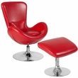 Egg Series Red Leather Side Reception Chair w/ Ottoman - Flash Furniture CH-162430-CO-RED-LEA-GG