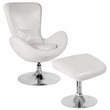 Egg Series White Leather Side Reception Chair w/ Ottoman - Flash Furniture CH-162430-CO-WH-LEA-GG