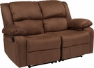 Harmony Series Chocolate Brown Microfiber Loveseat w/ Two Built-In Recliners - Flash Furniture BT-70597-LS-BN-MIC-GG