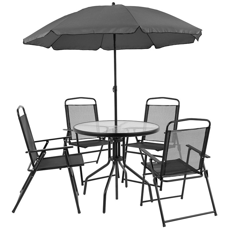 Nantucket 6 Piece Patio Garden Set W/ Table, Umbrella U0026 4 Folding Chairs    Flash Furniture GM 202012 BK GG
