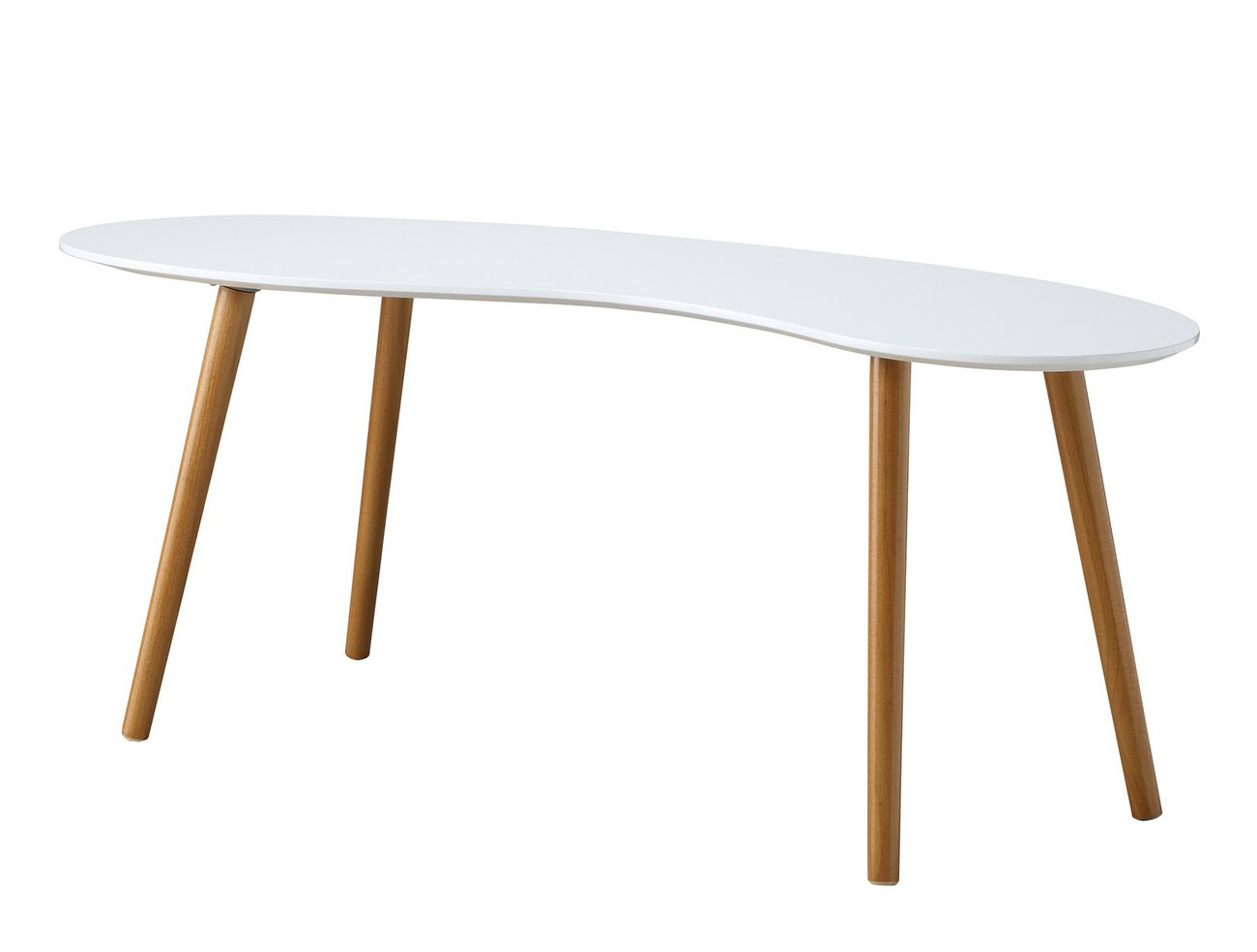 Oslo Bean Shaped Coffee Table In White/Bamboo   Convenience Concepts 203582W