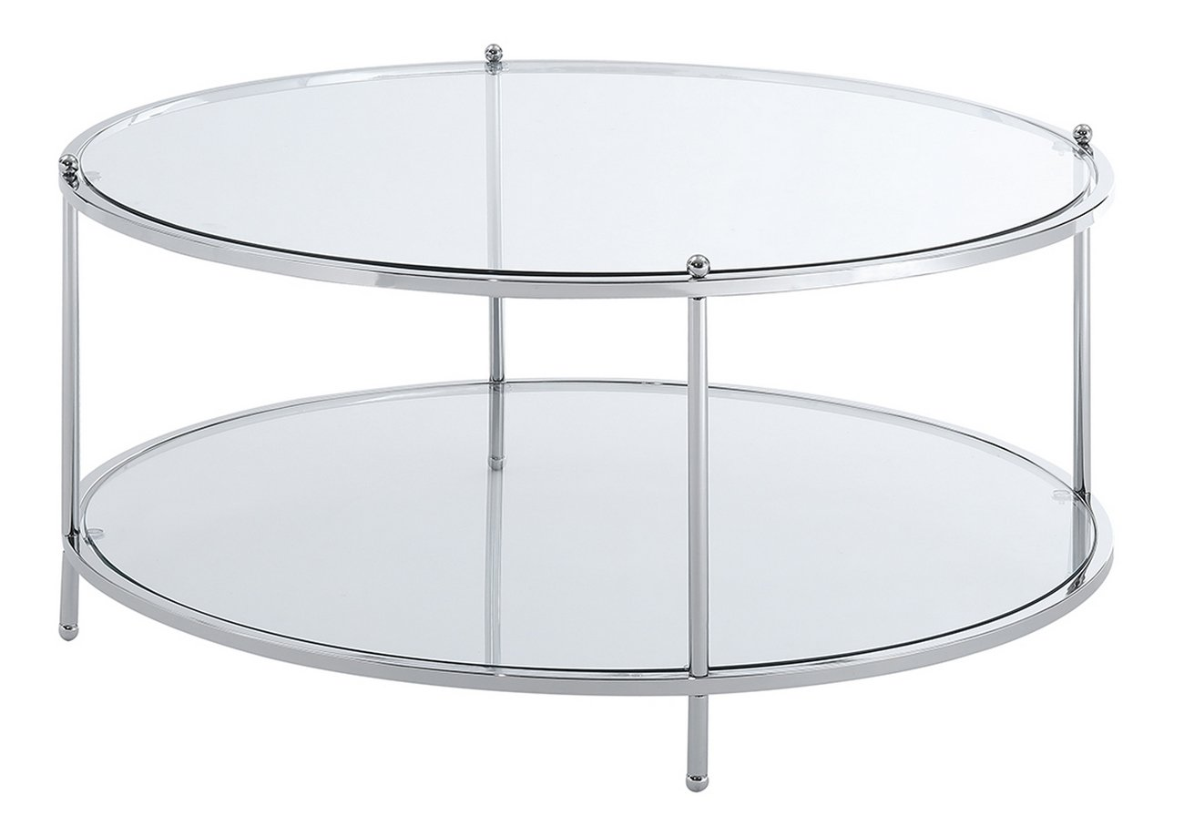 Royal Crest Tier Round Glass Coffee Table In Clear Glass Chrome - 2 tier round coffee table