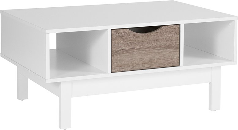 St Claire Collection Coffee Table In White Finish W Oak Wood Grain - Flash furniture coffee table